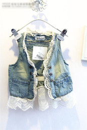 Wholesale HOT Summer Girls Sleeveless Lace Edge Splice Wash Denim Waistcoat Kids Clothing Tank Hollow Jeans Tank Tops Childs Vest OutwearH0595