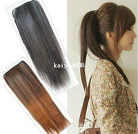 Wholesale Brown Available Womens Clip in Ponytail Long Hair Piece Straight Pony Tail Hair Extension