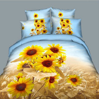 100% Cotton Hotal Adults brand new oil painting Sunflowers bedding set 3d bedclothes queen size duvet cover quilts bedsheet and pillowcases 100 Cotton