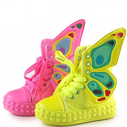 Wholesale Retail Pairs Chiildren Canvas Sneaker Girls Butterfly Wings Casual Shoes Girls Boys Fashion Shoes Peach Yellow t t Good Quality