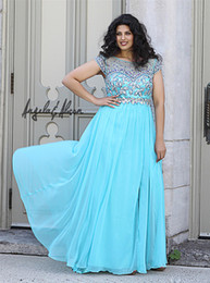 Wholesale 2014 Plus Size Prom Dresses Sparkle Shining Beaded Bodice Sheer Scoop Neck With Capped Short Sleeves Back Zipper Chiffon Evening Dress