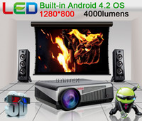 LCD 4.2 OS with Wifi 4000lumens Max LED Professional Built-in Android 4.2 Smart Wireless Wifi RJ45 Home Theater Digital HD LED Video 1280x800 1080P TV Projector Projektor Beamer
