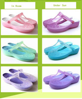 Wholesale Women s Sandals Summer Sandals Color Changed Slippers Summer Shoes Flat Heel Flip Flop Comfort Clog Size US