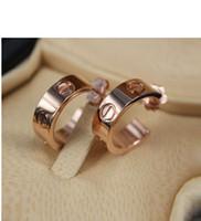 Wholesale Fashion brand silver k rose gold L stainless steel women screw love stud earrings ear studs jewelry SE0104
