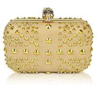 Handbags Mini(<20cm) Hasp Famous designer luxury gold evening bag, Punk skull rivet rhinestones clutches, UK flag party bags handbag clutch bags