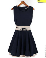 Casual Dresses Round Mini Fashion Sleeveless Bow Chiffon Cute Dress 2014 New Women's Spring Summer Sexy Casual Girl Dresses Plus Size XL two colours pink dark blue
