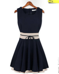 Wholesale Fashion Sleeveless Bow Chiffon Cute Dress New Women s Spring Summer Sexy Casual Girl Dresses Plus Size XL two colours pink dark blue