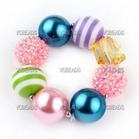 Beaded, Strands americana acrylic - Americana Chunky Bracelet Frozen Inspired Bubblegum Beads Gumball Bracelet European Jewelry Accessory Baby Gift Children s Day