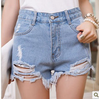 Jeans Women Bootcut 2014 Summer Plus Size hole irregular whisker denim high waist shorts s Ripped Jeans Shorts 3 Colors Size 26-31 #B44507