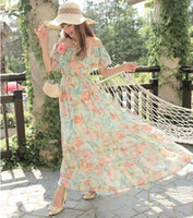 Casual Dresses Strapless A Line U real pictures with model 98722 slit neckline tube top chiffon bohemia beach mopping the floor dress full 480g