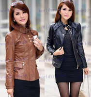 Jackets plus size dropship - Hot Sale new fashion womens leather jacket outerwear faux PU leather jackets short design plus size dropship