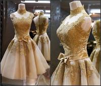 2014 apliques oro encantador graduación Cocktail Mini corto vestidos de cuello alto con apliques dorados del cordón posterior de la cremallera una línea BO5389