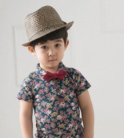 Unisex Summer Standard 38135913795 Free Shipping Wholesale 1 lot = 5 Kids Clothing children new 2014 child cotton short-sleeved shirt for boys and girls floral