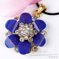 Pendant Necklaces Other Kelly Baby Sweet wind flash diamond pendant resin pendant Korean navy Miss Mao Yilian wild flower pendant