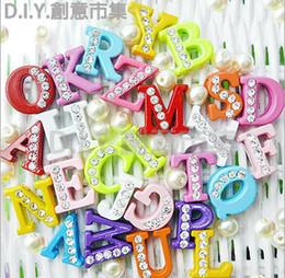 Wholesale mm A Z Colorful Half Rhinestone slide letter charm diy Alphabet accessories
