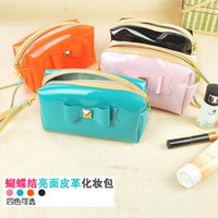 Wholesale 5pcs bowknot Cosmetic Bags Cases Fashion Leather Organizer Bags for Wonmen Makeup bag in Handbag Gifts