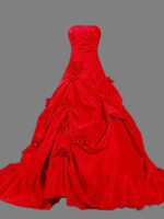 Wholesale Charming Noble A Line Strapless Chapel Train Red Taffeta Pick Up Wedding Dresses Handmade Flowers Lace Up Strapless Wedding Gowns Bridal
