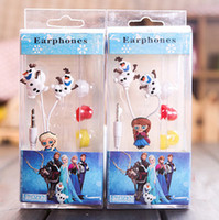 Wholesale IN box z Frozen earphone frozen anna elsa Olaf Earphones free ship Style Stereo Earphones Headphones iphone mm