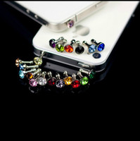 Wholesale 3 mm Rhinestone Anti Dust Headphone cap sets tip Earphone Jack Dust Plugs Tail case Dock plug for iPhone S s C S samsung HTC ipad