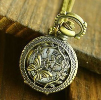 Wholesale Coupon for buyer price good quality vine new vine bronze mini butterfly in tree pocket watch necklace with chain