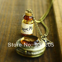 Quartz alice antiques - Hotsale Drink me Alice IN Wonderland Pocket Watch Long Necklace