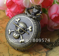 Wholesale Coupon for buyer price good quality girl woman lady fashion vintage bronze One Piece skull pocket watch necklace hour