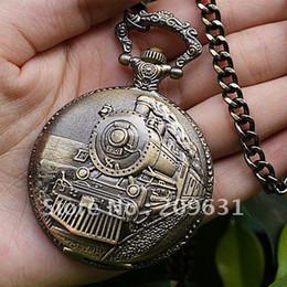 Wholesale Victorian Style Bronze Steam Train Head Quartz Movement Pocket Watch Necklace Chain quot PW053