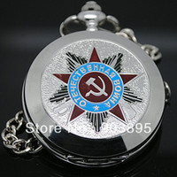 Wholesale Russian Vingtage Silver Soviet BOLSHEVIK Mechanical FOB Pocket Watch Mens Military Pendant Watch Chain free ship