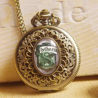 Wholesale Harry Potter Vine Pocket Watch Necklace with Inspired Slytherin Ravenclaw Gryffindor Hufflepuff