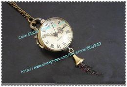 Wholesale crystal ball pocket watch ladies elegence designer dress clock Necklace bronze