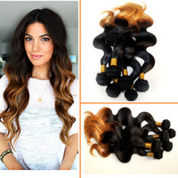 Brazilian Hair Body Wave Under $50 Hot Queen Brazilian Ombre hair weave body wave 3 bundles lot Two Tone Colored1b# 30# 10&9;&9;32&9;&9; Remy Ombre Human hair extensions