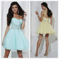 Wholesale New Sexy Pleats Homecoming Dresses A Line Sweetheart Short Beaded Mini Sleeveless Backless Party Gowns Prom Dress Organza Yellow Blue