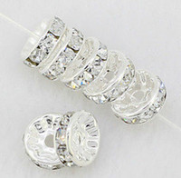 Wholesale 10mm white Clear Crystal Rhinestone Rondelle Spacer Beads Silver Plated Jewelry Findings Rondelle Spacer Loose Bead Findings