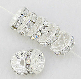 10mm 300 pcs lot white Clear Crystal Rhinestone Rondelle Spacer Beads, Silver Plated Jewelry Findings Rondelle Spacer Loose Bead Findings
