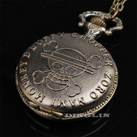 Wholesale Hot Selling Steampunk Vintage Antique Anime Cute One Piece Pirate Pattern Pocket Watch Charm Locket Necklace