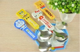 Wholesale Baby Tableware Baby Lovely Cartoon Spoon Children Stainless Steel Spoon Round Section Cute Baby Spoon DHL