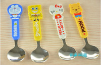 ppbag baby spoon stainless - Baby Tableware Baby Lovely Cartoon Spoon Children Stainless Steel Spoon Round Section Cute Baby Spoon
