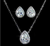 Wholesale Fashion Jewellery white waterdrop shaped sapphire lady s kt white gold filled Necklace earrings wedding set
