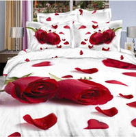 Yes 40 4 pcs red rose wedding Bedclothes 4pc bedding set 3d queen size Duvet comforter Quilt cover white cotton bed linen sheets sets