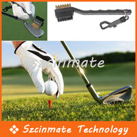 Wholesale Sided Brass Wires Nylon Golf Club Brush Groove Cleaner Kit Black