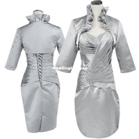 Wholesale Hot Ladies Beads Dress Drop Shipping Elegant Style Silver Color Mother Of The Bride Dress With Jacket JLF029