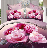 Cotton Jacquard Yes Wholesale-4 PCS Free Shipping 3D Bed Linen 3D bedding set king size bedlinen duvet cover set red rose bedclothes comforter sets