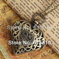 Wholesale 1 Bronze heart shape pocket watch hot necklace fashion style new vine mini woman lady xmas WA005