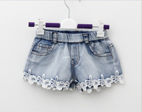 Wholesale Summer Children Denim Shorts Korean Girl Lace Shorts Kid s Jeans Hot Pants Size Factory Sale Child Clothing GX235