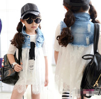 Wholesale Fashion Girls Denim Lace Jacket Dress Kids Clothes Child Yarn Sleeveless Outwear Dresses Children Clothing Yarn Vest Jackets Dressy D2736