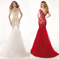 Off-the-Shoulder elegant dresses - White Red Designer Lace Backless Cheap Mermaid Ball Gown Tarik Ediz Formal Evening Dresses Long Pageant Sexy Prom Dress Tulle Elegant