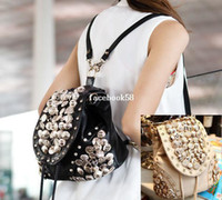 Wholesale PU punk bling bling women button studded hipster backpacks lady tassel drawstring sling shoulder bag mochila bolsas