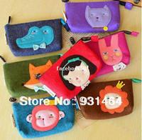 Wholesale kawaii animal series felt zipper coin purse cartoon mobile phone bag coin key wallet