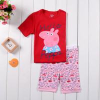 Girl Summer 2Y 3Y 4Y 5Y 6Y 7Y 2014 New Brand Spring Summer Cartoon Peppa Pig Cute Cotton Short Sleeve Grils Pajamas Clothing Set Kids Pajamas Sets Baby Suit