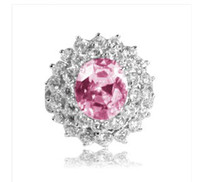 Solitaire Ring Asian & East Indian Women's Free shiping! 925 Sterling Silver Rhodium Pink Cz Flower Ring